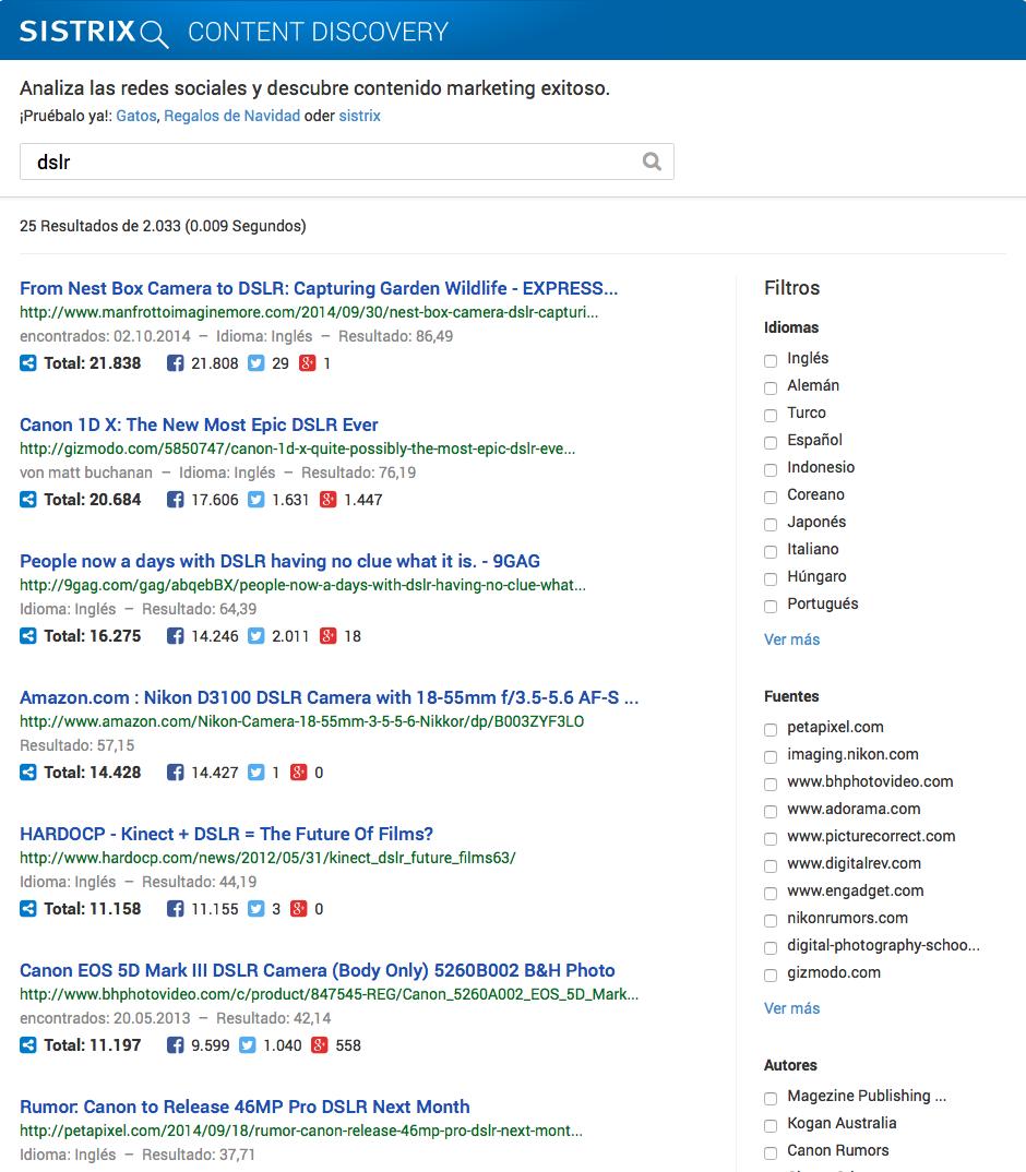 Interfaz principal del Content Discovery de SISTRIX tras analizar una palabra clave