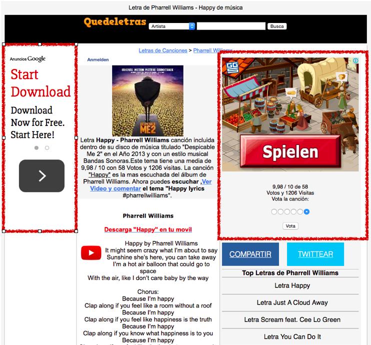 Captura de pantalla de página web llena de anuncios
