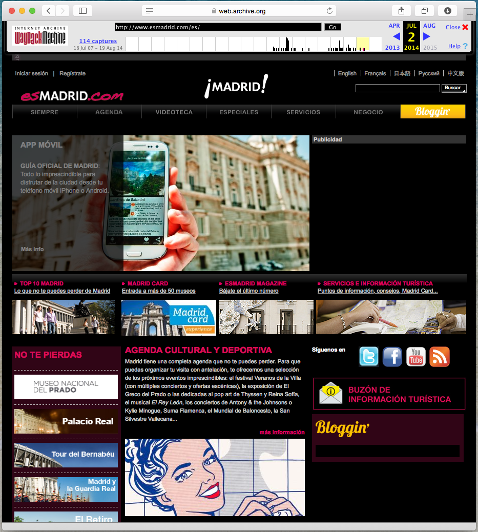 Página web de la oficina de turismo de Madrid antes de la actualización