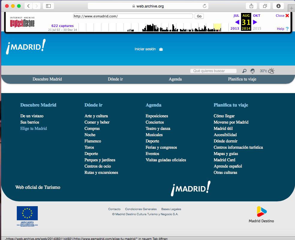 Página web de la oficina de turismo de Madrid después de la actualización