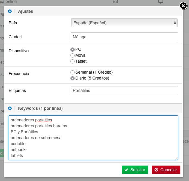 Opciones del Optimizer: País, Ciudad, Dispositivo, Etiquetas y palabras clave