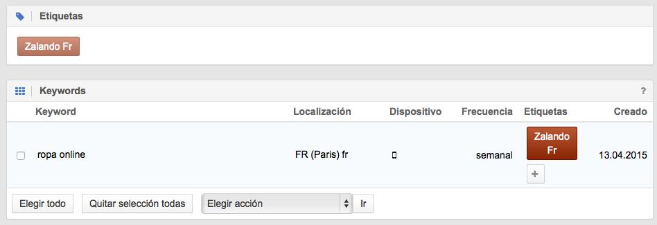 Monitorización de la palabras clave para móvil en Francia