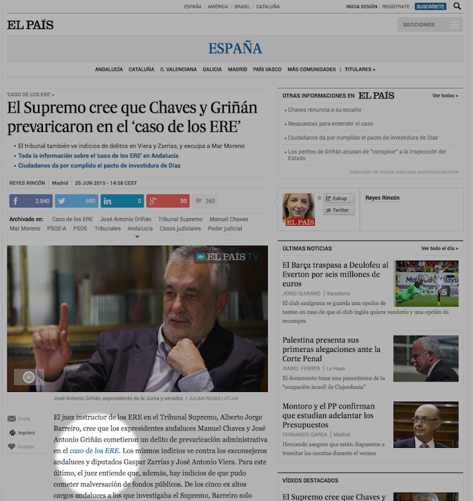 La noticia contiene diferentes links que llevan a los temas (tag)