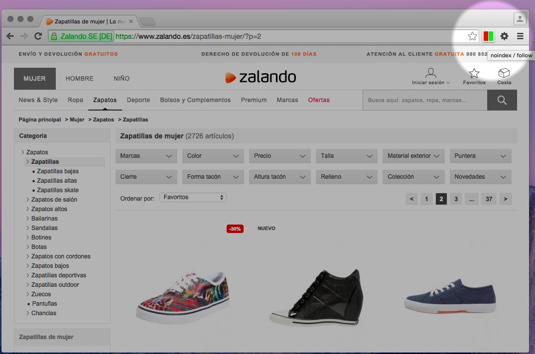 Página con noindex/follow en el meta de zalando.es