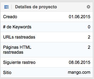 Resumen en detalle del dominio mango.com con el Optimizer de SISTRIX