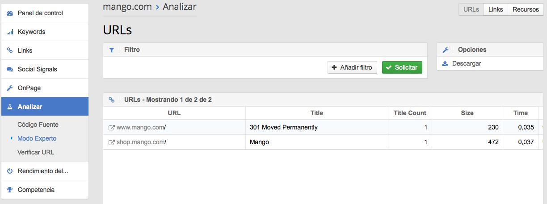 Documentos HTML del dominio mango.com en Optimizer