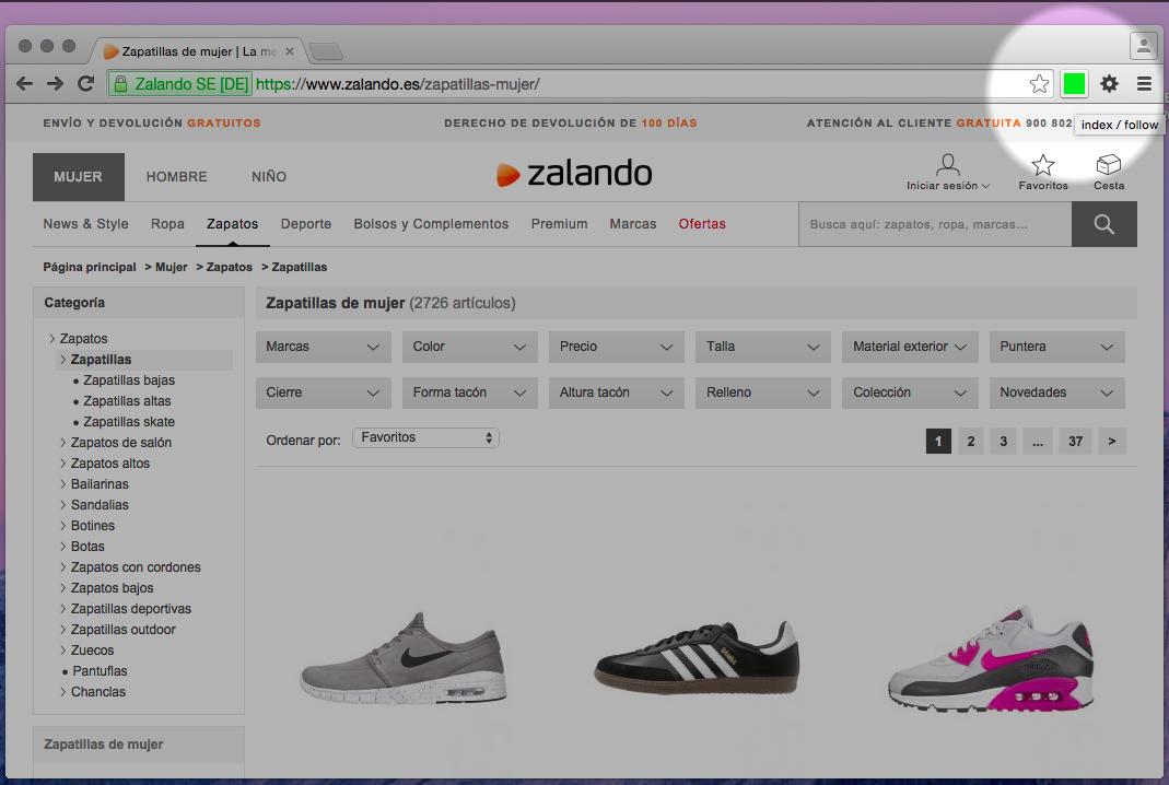Página con index/follow en el meta de zalando.es