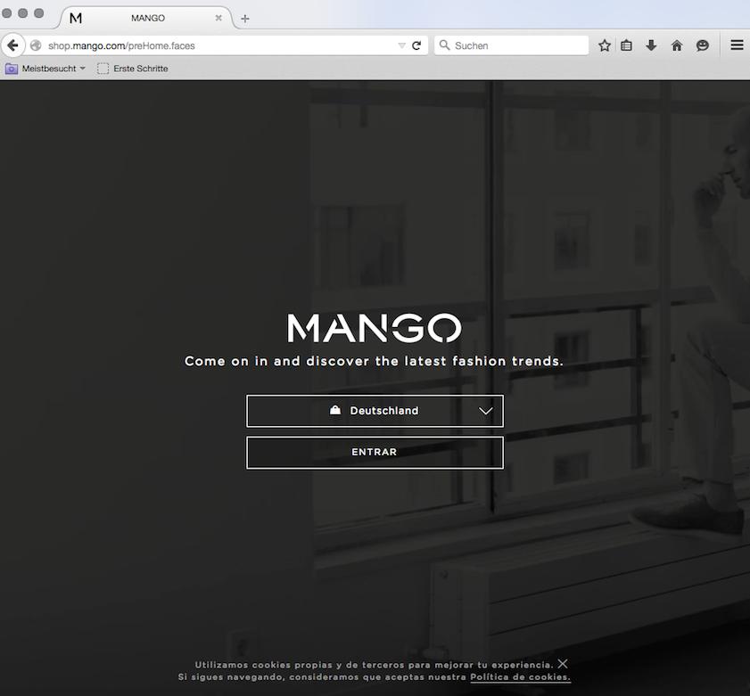 Gráfica del menú de mango.com