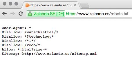 robots.txt de zalando.es