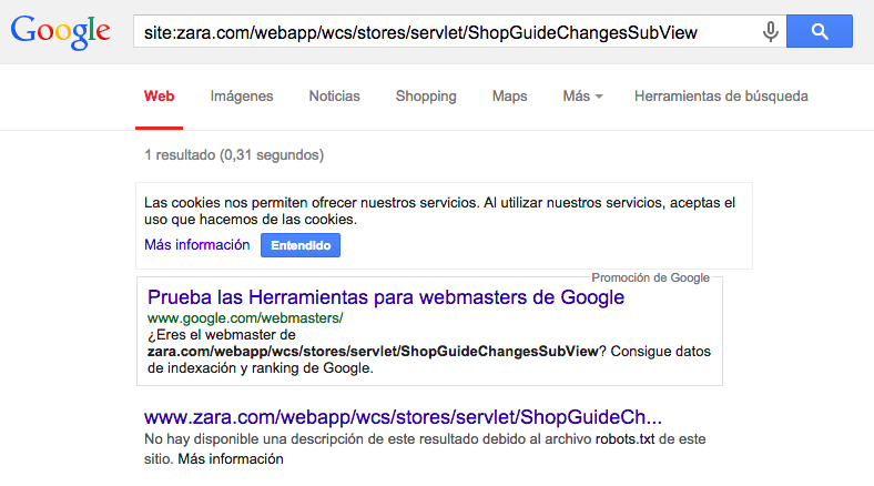 Contenido bloqueado por robots.txt pero indexado por Google