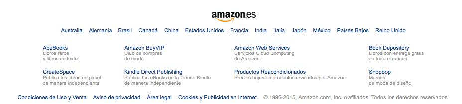 Menú de los subdominios de Amazon