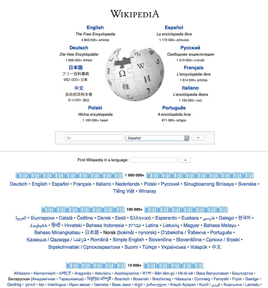 Página de inicio de Wikipedia. Todos sabemos que es el dominio preferido de Google.
