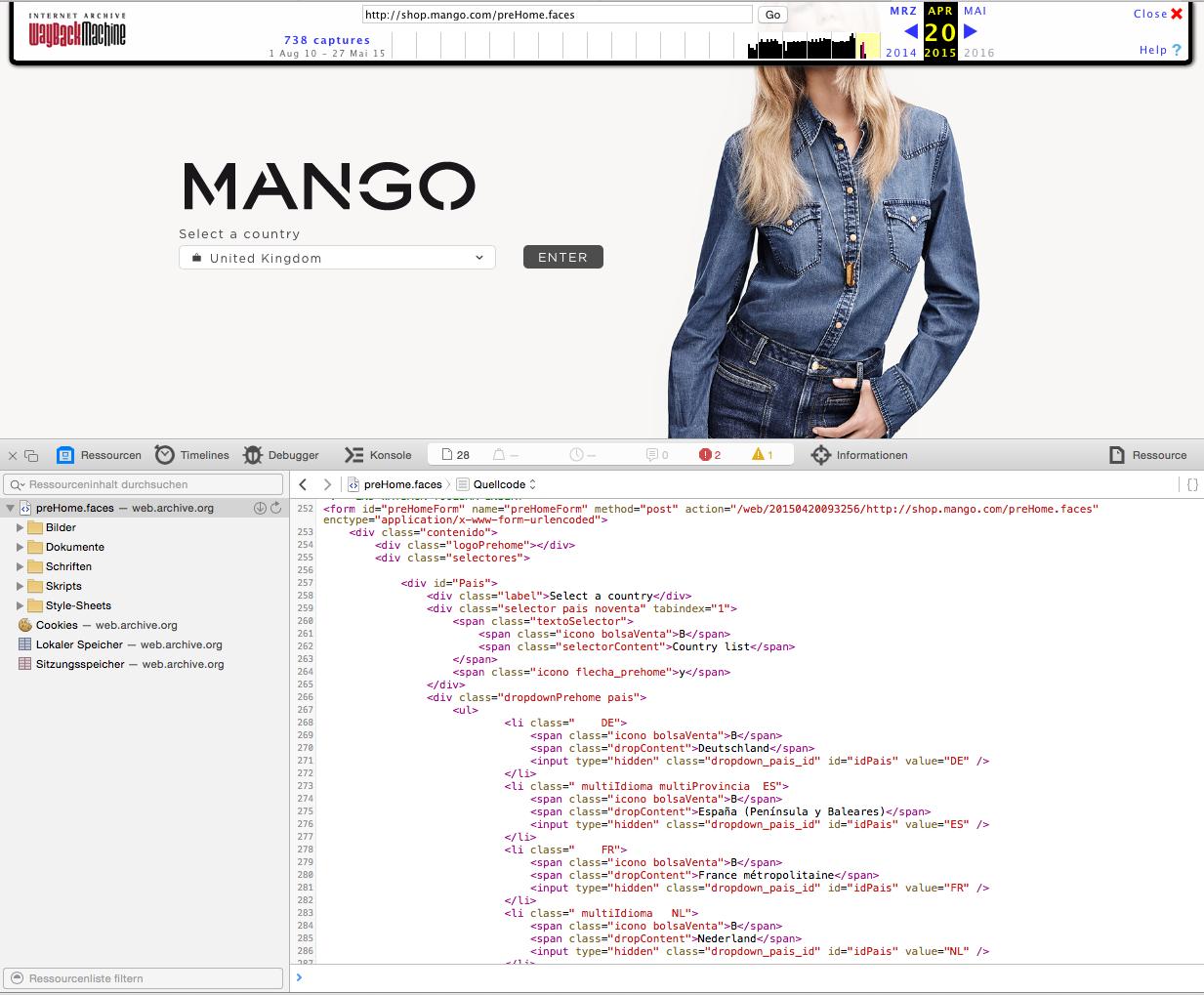 Última página de inicio de Mango.com antes del cambio. Los países se podría leer en HTML.