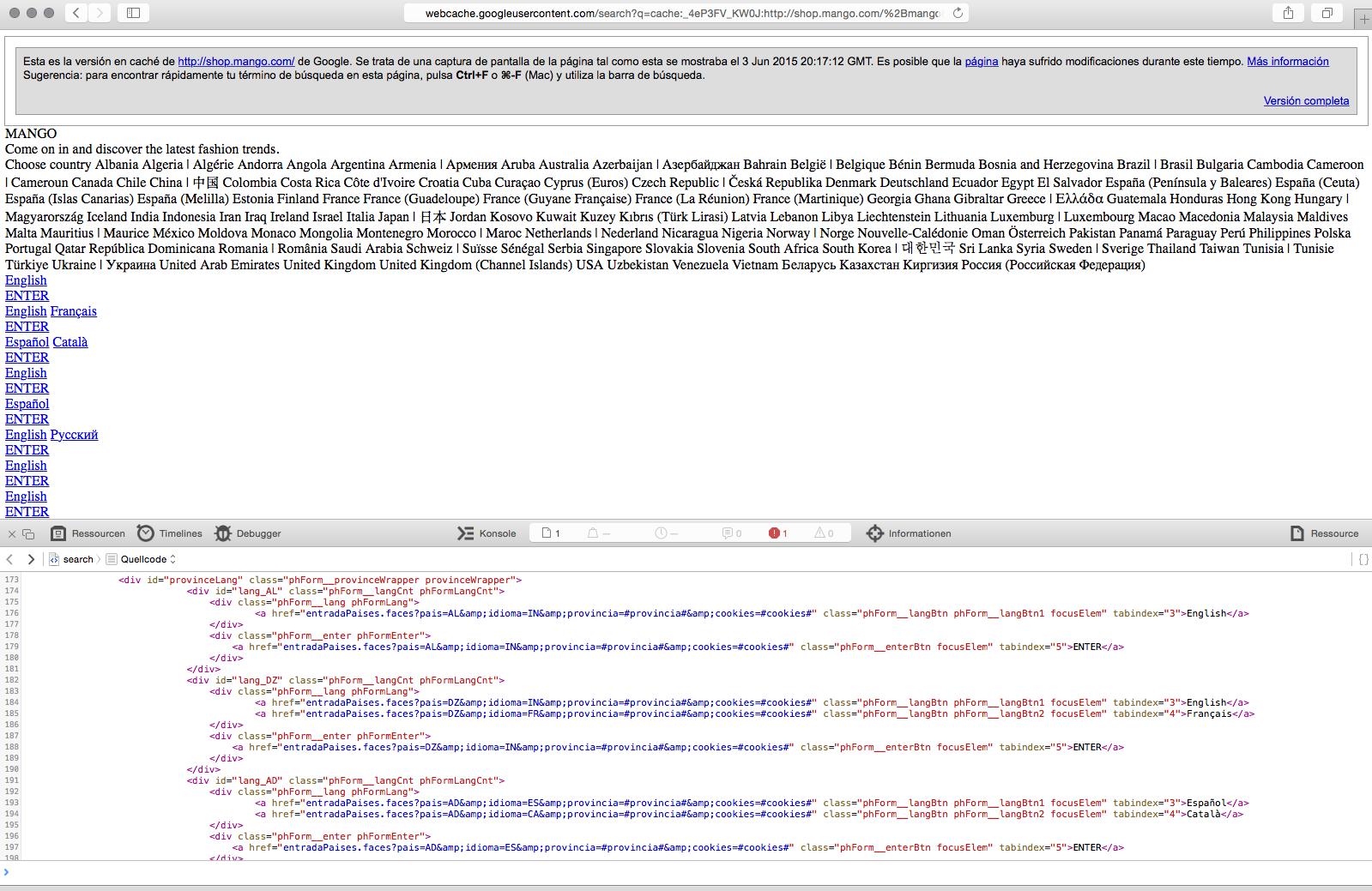 Enlaces de Mango en el Cache de Google a día 03.06.2015