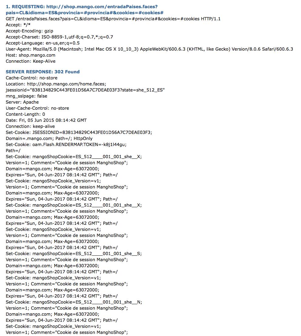 Mango usa 302-redirect en sus URLs
