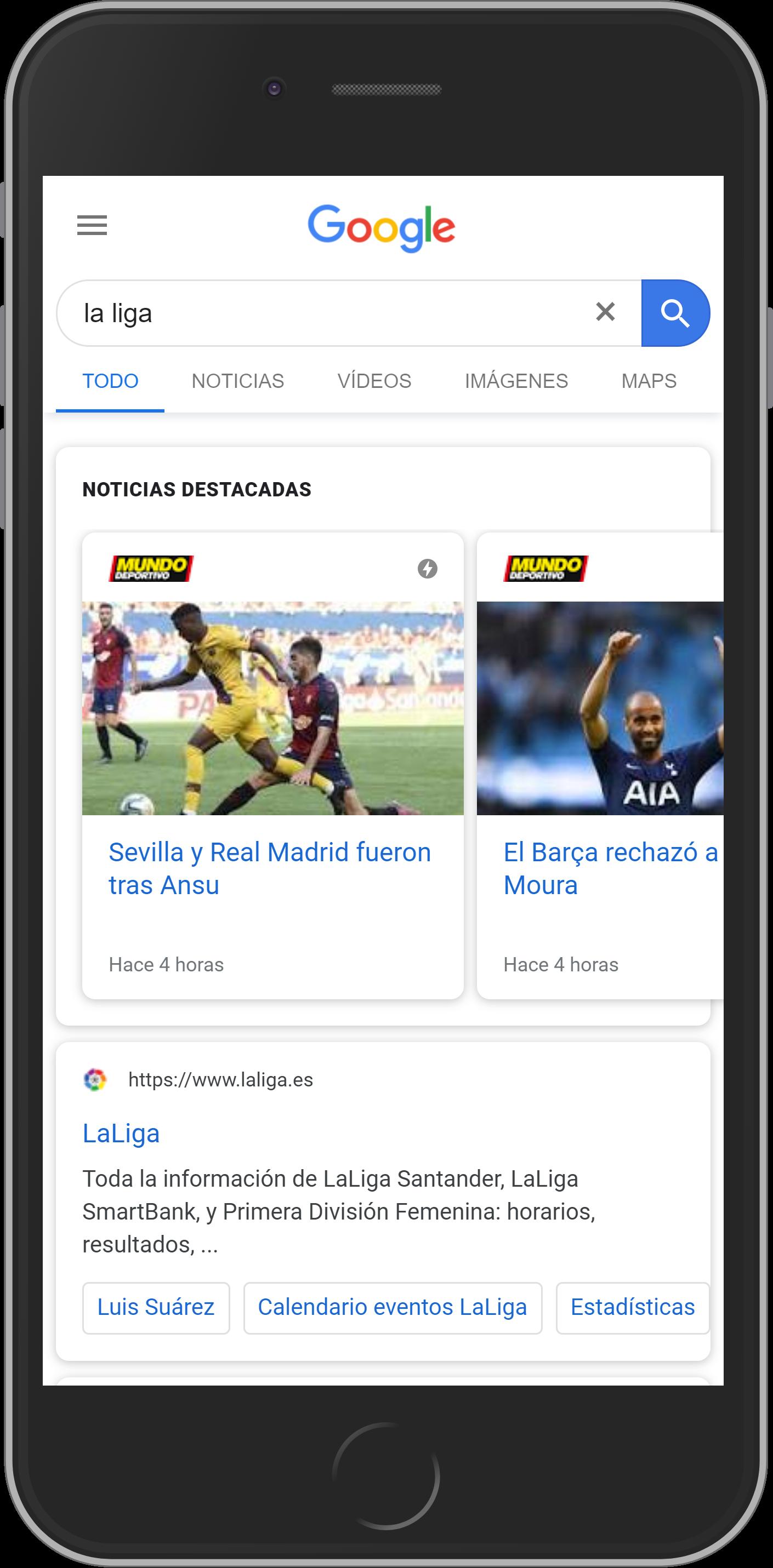 Google noticias como resultado de la búsqueda de La Liga en smartphone