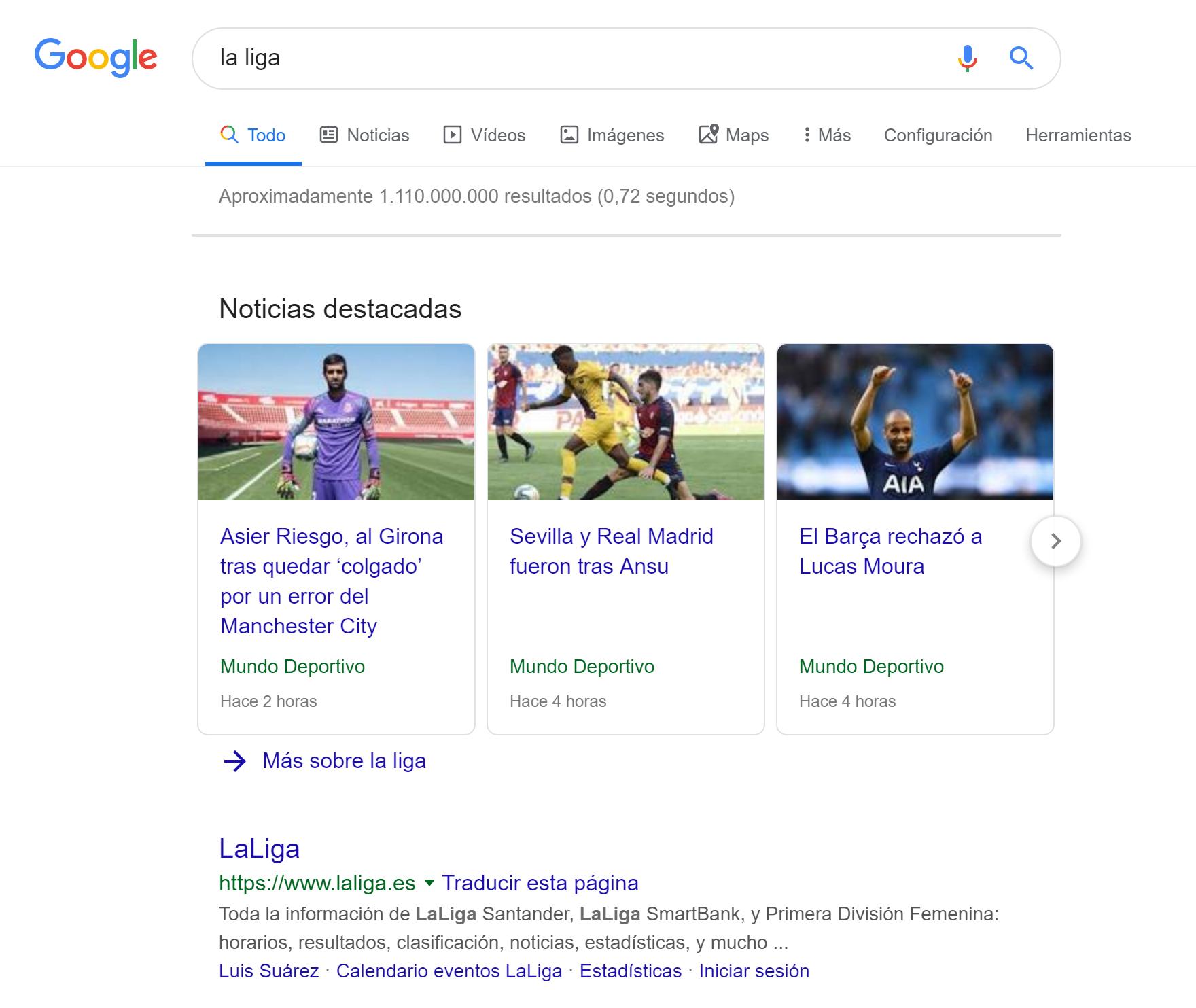 """""""Google noticias"""" como resultado de la búsqueda de """"La Liga"""" en escritorio"""