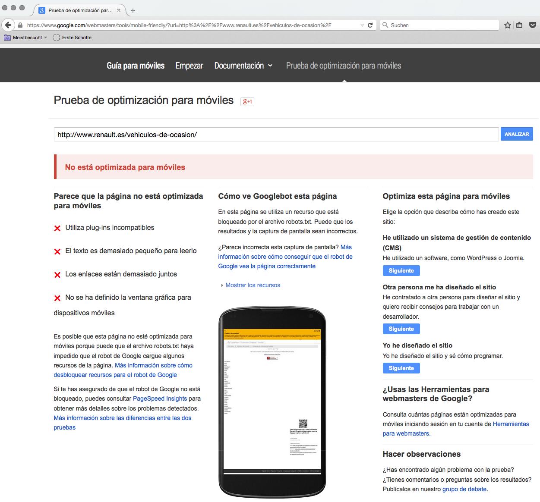 URL de Renault que no está optimizada para Google