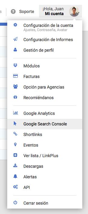 Conexión API de Google Search Console en SISTRIX