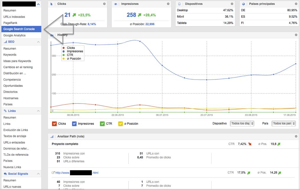 Visualización de la API de Google Search Console en SISTRIX