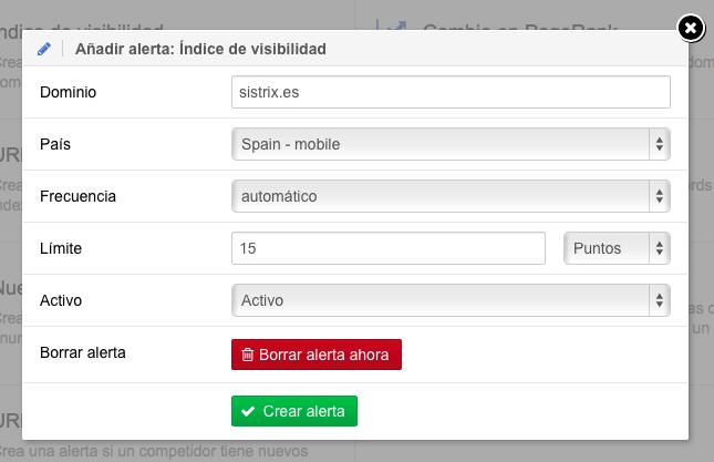 Controlar cambios en el índice de visibilidad de un dominio