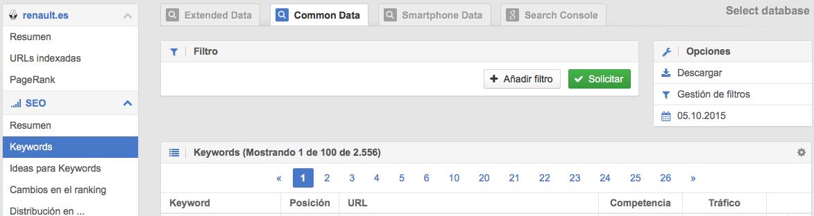 Número de palabras clave posicionadas en Google para Desktop