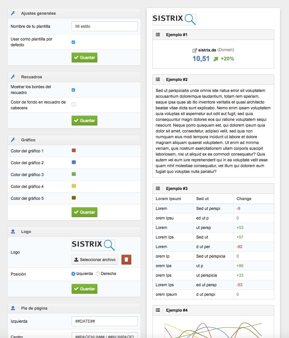 Informe PDF: configuración y ajustes - SISTRIX