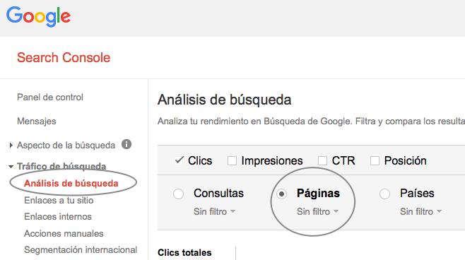 Hacer uso de Google Search Console para identificar URLs importantes