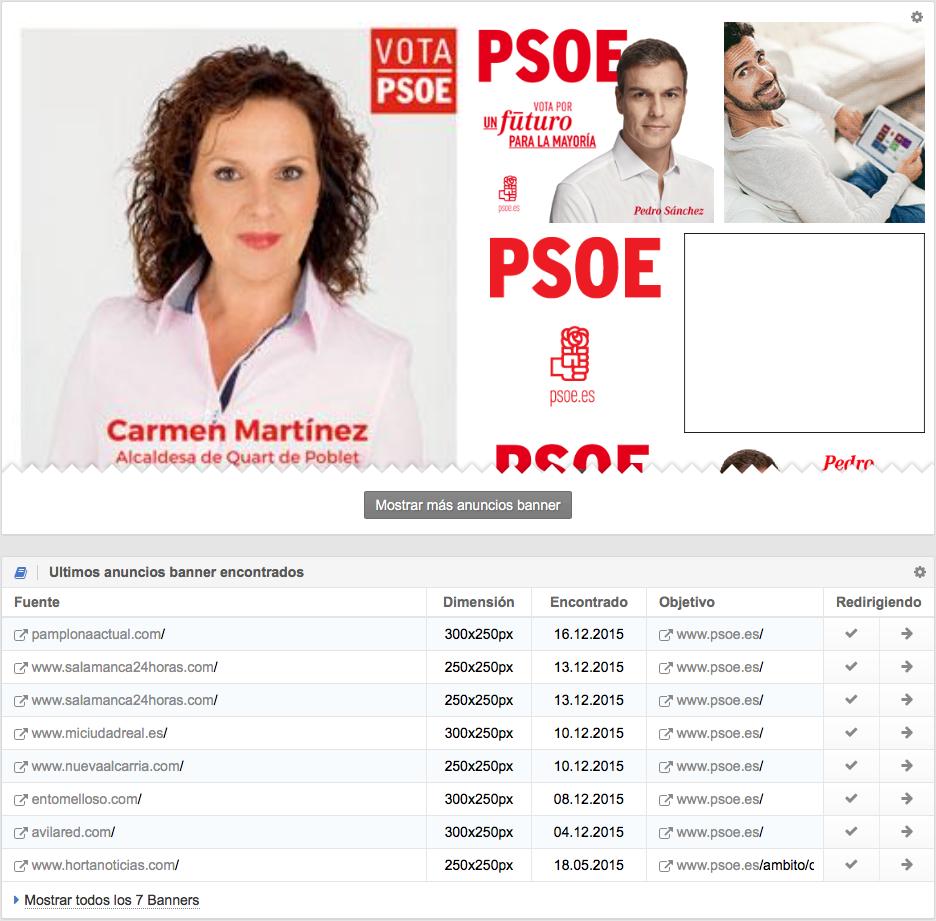 Anuncios Banners durante la campaña del PSOE