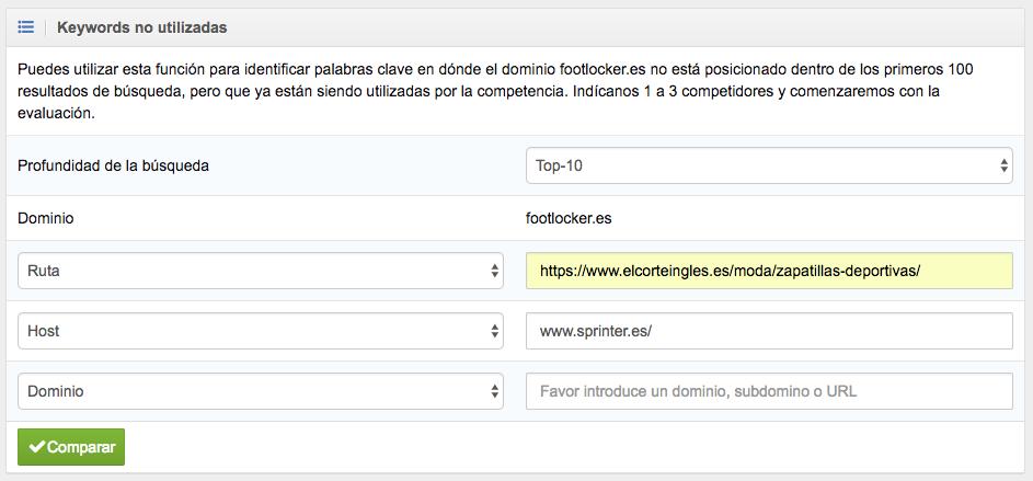 Keywords no utilizadas con búsqueda suponiendo que somos Footlocker.es.