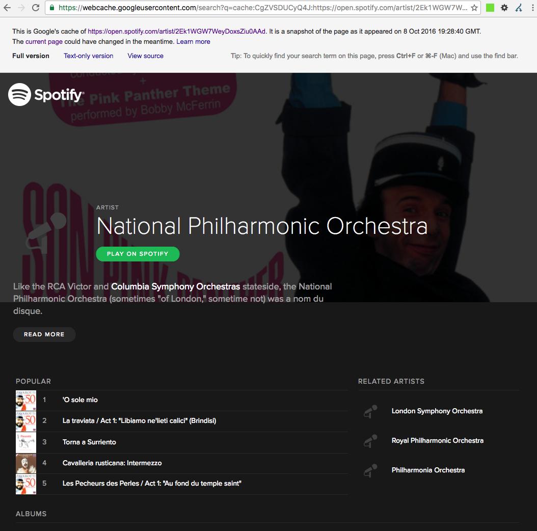 """Version """"cacheada"""" por Google del sitio web Spotify.com"""