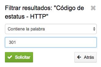 Creación de filtro para un código de estado HTTP 301