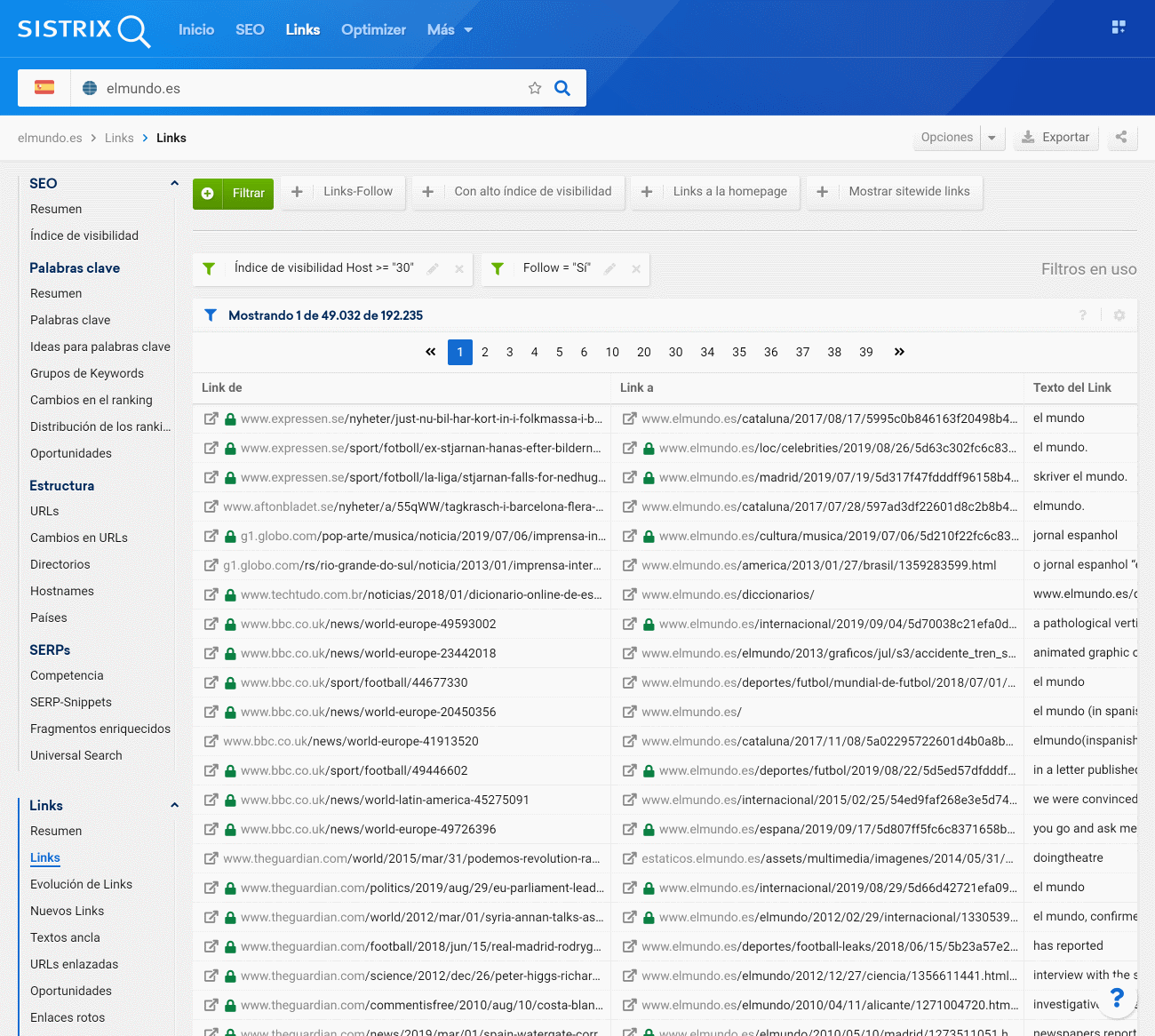 Resumen de backinks del dominio elmundo.es recibidos en dominios con un índice de visibilidad del host mayor a 30 puntos que son Follow