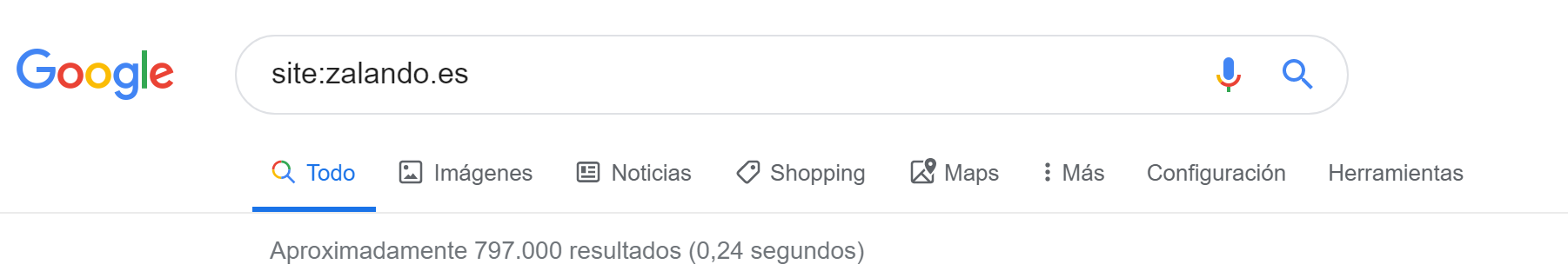 Google site:-query para el dominio zalando.es el 19.09.2019