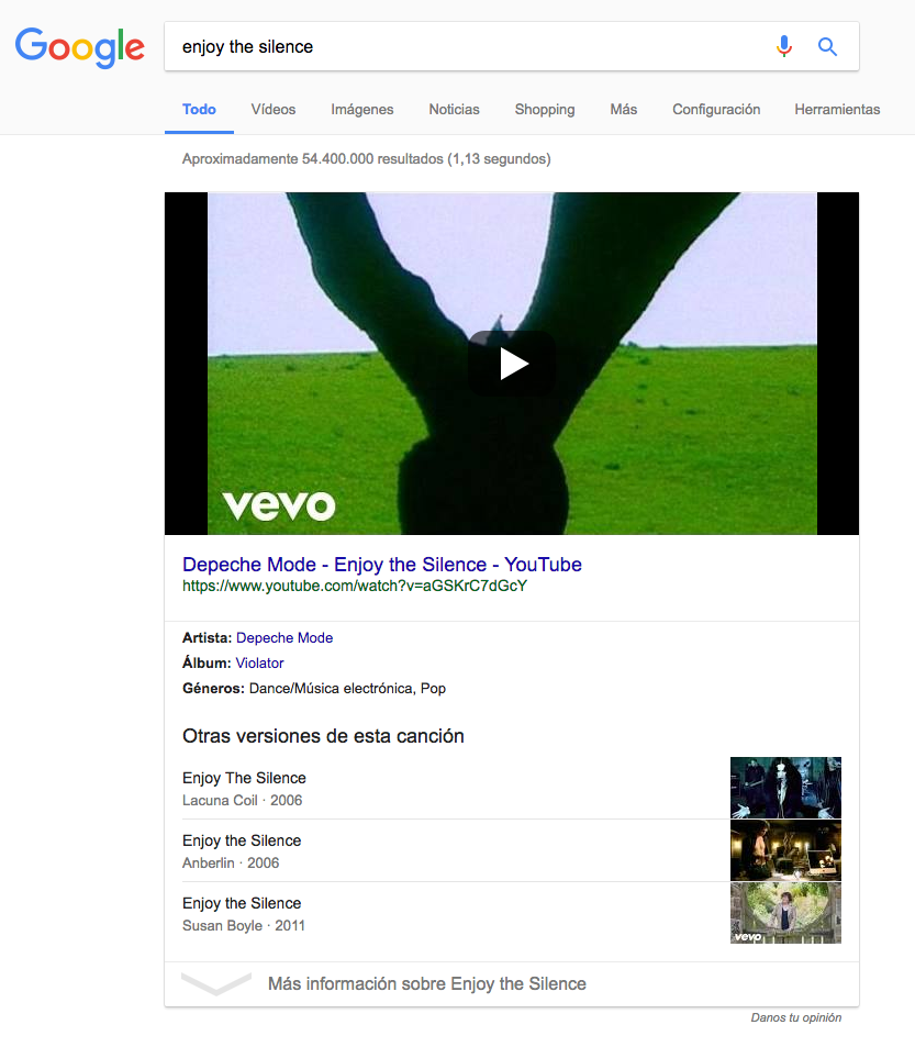 "Onebox de Google para la búsqueda ""Enjoy the Silence"" de Depeche Mode"