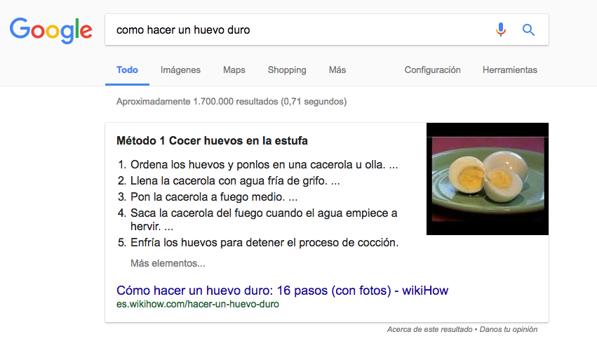Ejemplo Featured Snippet con listas