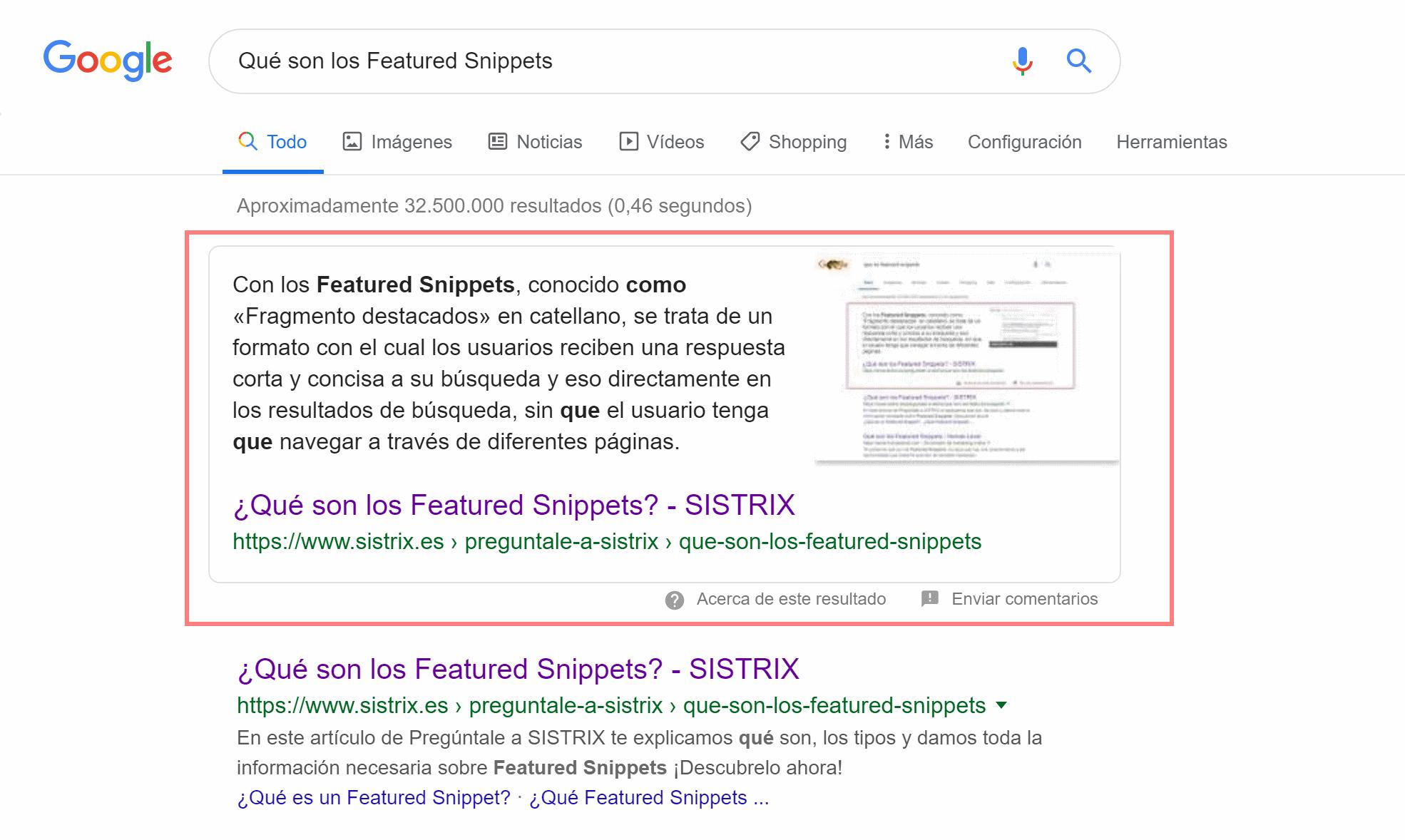 Resultado de búsqueda en Google con integración de un Featured Snippet