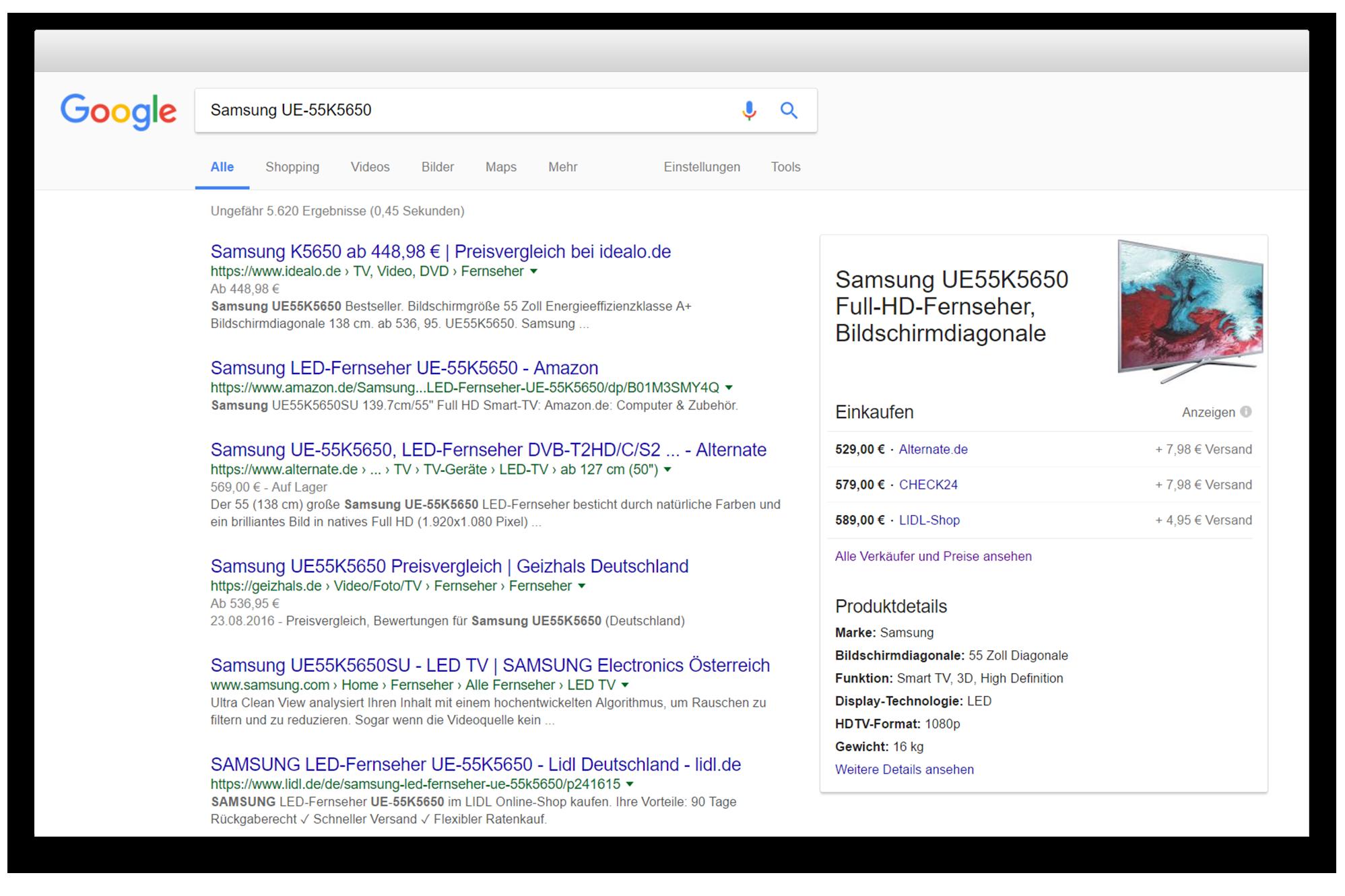 Ejemplo para un resultado de Google Shopping para la marca Samsung
