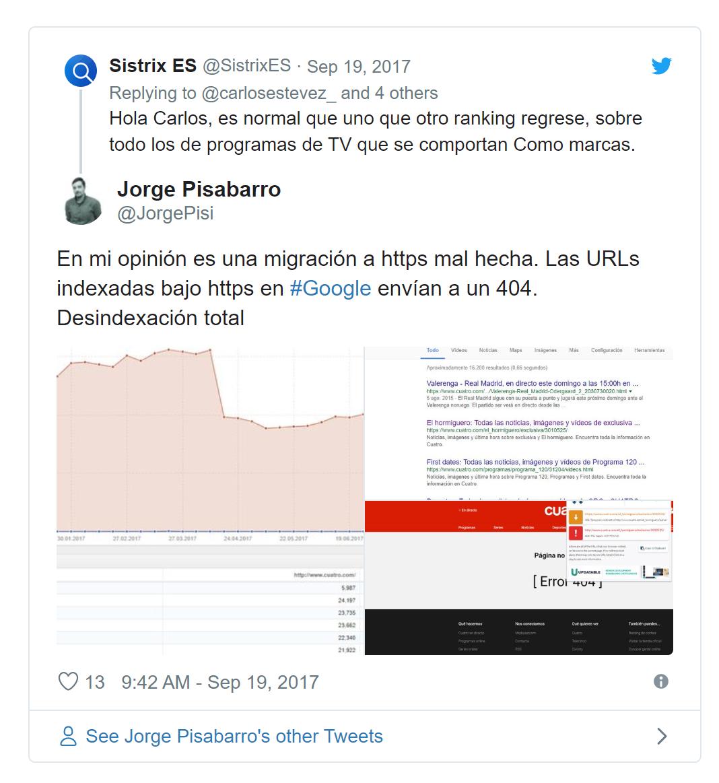 Tweet de Jorge Pisabarro en respuesta a un tweet de SISTRIX sobre migraciones