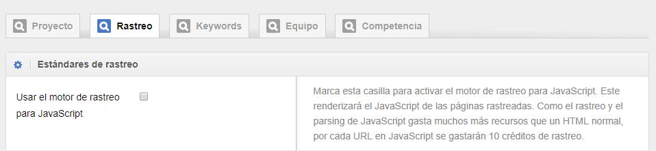 Opciones de Rastreo de JavaScript en el Optimizer de SISTRIX