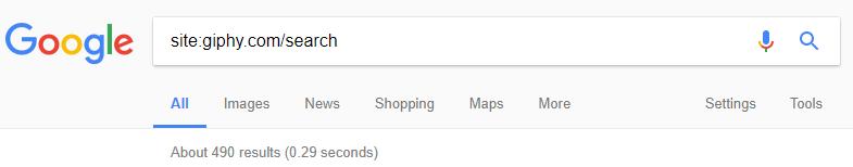 comando site: en Google para el dominio giphy.com