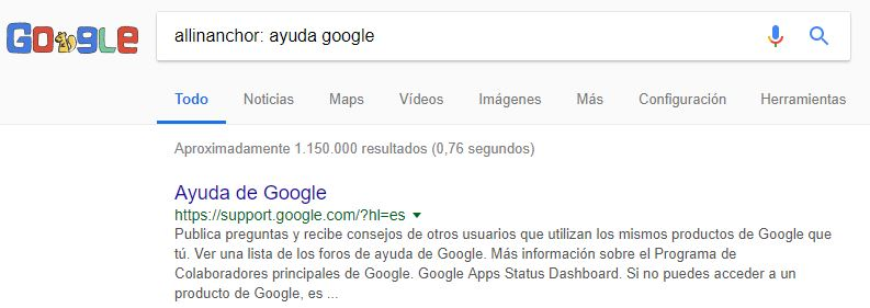comando allinanchor: para la búsqueda en Google