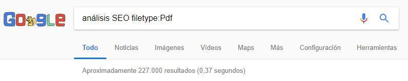 comando filetype: para la búsqueda en Google