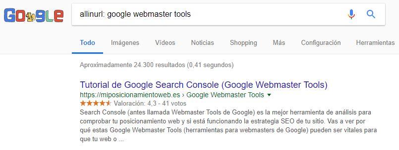 comando allinurl: para la búsqueda en Google
