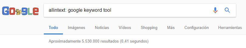comando allintext: para la búsqueda en Google