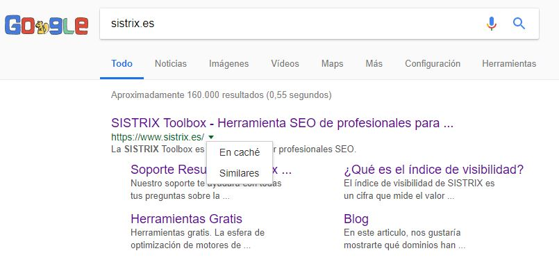 """posicionamiento de la búsqueda en """"caché"""" de Google para un dominio en los SERPs de Google"""