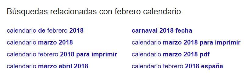 """Búsquedas similares a la frase de búsqueda """"calendario febrero"""" en la parte inferior de la página de resultados de búsqueda."""