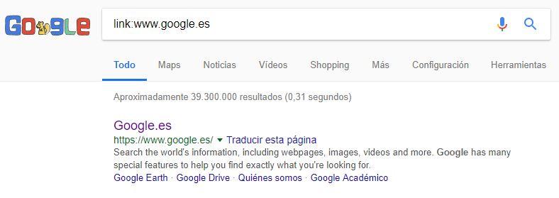 comando link: para la búsqueda en Google