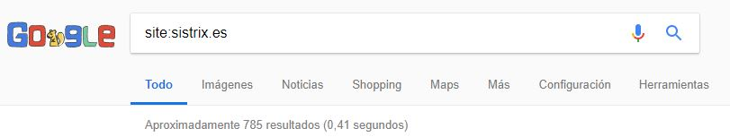 comando site: para el dominio sistrix.es
