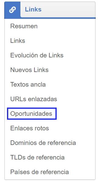 menú principal del módulo link de la herramienta SEO SISTRIX Toolbox donde encontrar las oportunidades de enlace